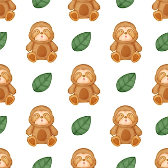 Watercolor cute sloth seamless patterns