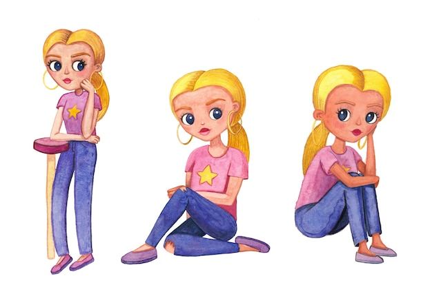 Watercolor cute teenage girl with a blonde, with earrings in her ears, in a pink t-shirt with a star, blue jeans and pink ballet shoes in three poses