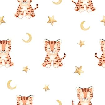 Акварель милый тигр и звезды бесшовный фон