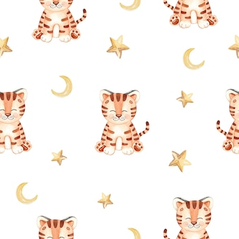 Watercolor cute tiger and stars seamless pattern