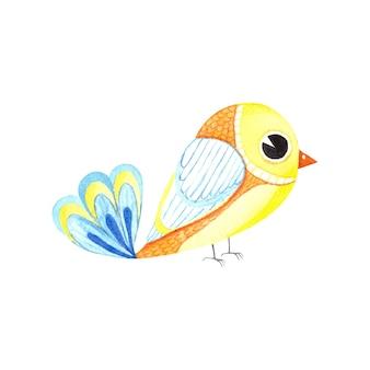 Акварель милая желтая птица в мультяшном стиле, изолированные на белом фоне