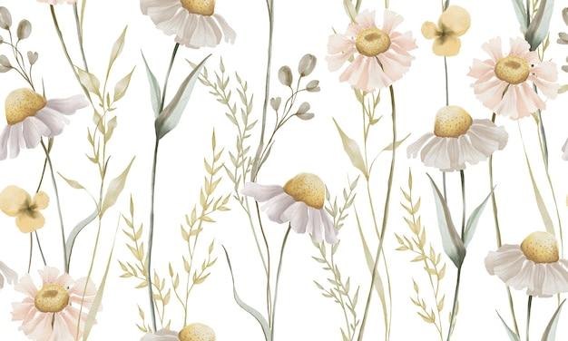흰색 배경에 고립 된 녹색 잎 패턴 수채화 데이지 꽃