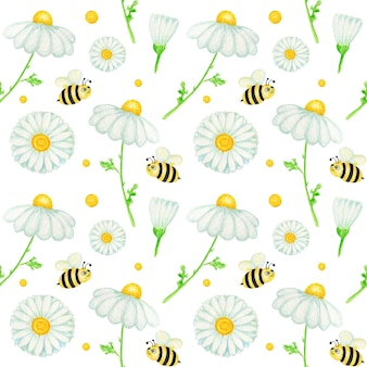 Watercolor daisy chamomile flower seamless pattern with fly bee. botanical herbs background.