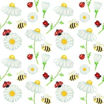 Акварель ромашка ромашка цветок бесшовные модели с божьей коровкой, пчела. фон травы.