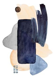 水彩の濃紺とベージュで描かれた抽象的な要素。手描きのモダンなプリントセットイラスト