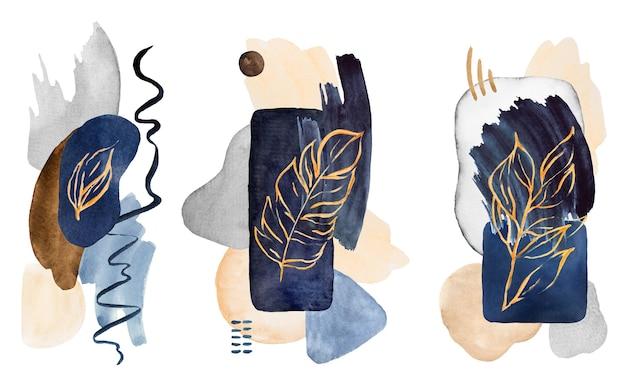 水彩の濃紺とベージュで描かれた抽象的な要素