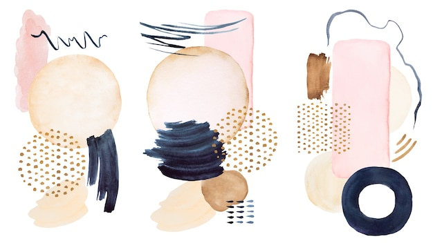 Watercolor dark blue and beige painted abstract elements. hand drawn modern print set illustration