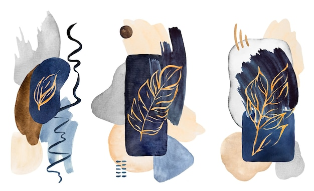 Watercolor dark blue and beige painted abstract elements