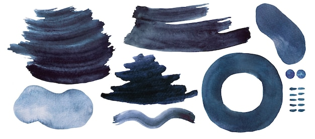 Watercolor dark blue painted abstract elements