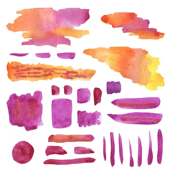 Watercolor decorations in pink and orange colors