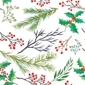 水彩の装飾的なクリスマス植物シームレスパターン