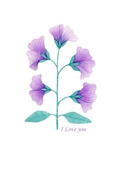 白い背景で隔離の水彩画の装飾的な紫色の春の花