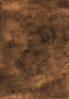 Watercolor deep brown background texture. aquarelle abstract old dark chocolate brown backdrop.