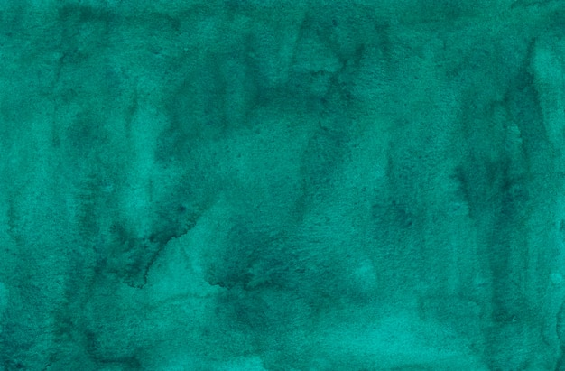 Watercolor deep sea green background texture. aquarelle abstract emerald stains on paper background