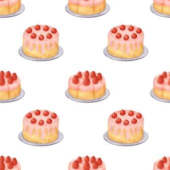 Watercolor dessert cake seamless patterns