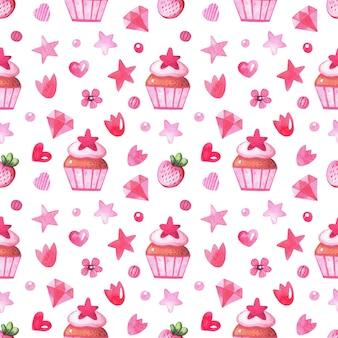 水彩のデザートとベリーのシームレスなパターン。ベーカリー用のお菓子、葉、ケーキ、イチゴと