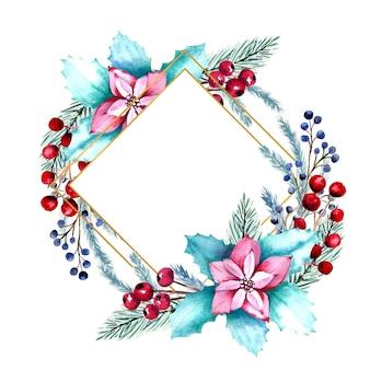 Акварельная ромбовидная рамка с ягодами, цветами пуансеттии, еловыми ветками.