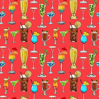 Watercolor digital illustration seamless pattern of cocktails of different shapes and colors on