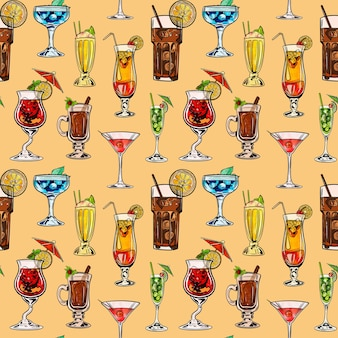 Watercolor digital illustration seamless pattern of cocktails of different shapes