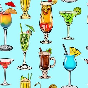 Акварель цифровая иллюстрация бесшовные модели коктейлей разной формы