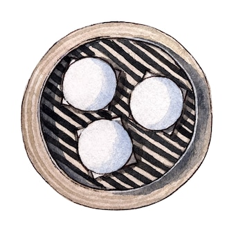 Watercolor dim sum, lotus seed paste bun.