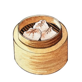 Watercolor dim sum in wooden steamer