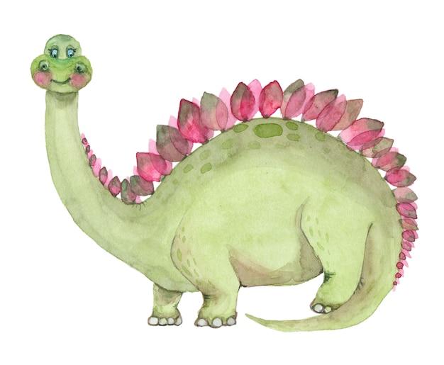 Watercolor dinosaurs stegosaurus
