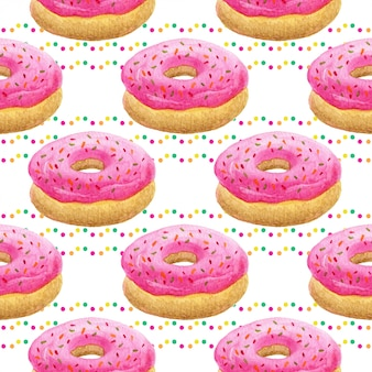 Watercolor donuts seamless pattern.