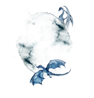 Watercolor dragons frame illustration