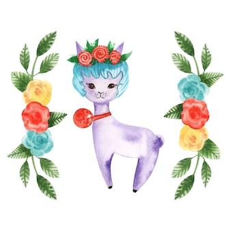 Watercolor drawing animal alpaca among flowers