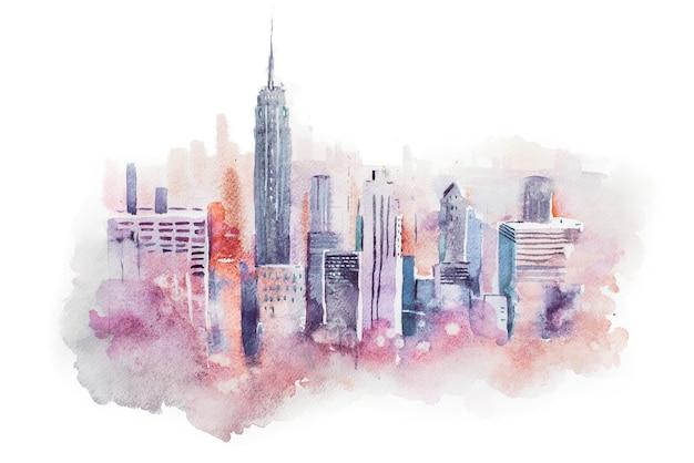 수채화 그리기 도시 대도시 시내, 수채화 그림.