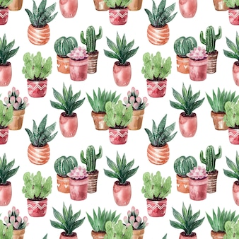 Watercolor drawing collection of cacti in pots seamless pattern