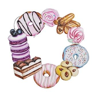 수채화 그리기, 케이크와 도넛의 프레임 화환. 흰색 배경에 수제
