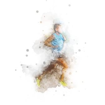 수채화, 그림, 남자, 달리기, 운동, 스케치, 흰색 배경, 대비, 삽화, 동적