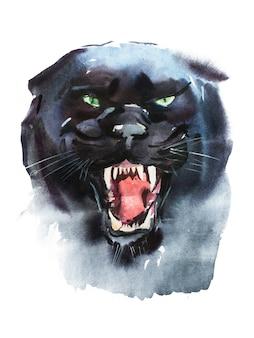 Акварельный рисунок злой пантеры. анималистический портрет на белом