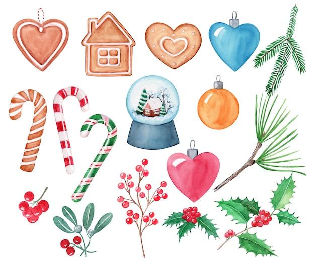 Акварельный рисунок рождественских украшений