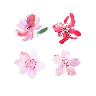 新鮮な庭の花の水彩画アクアレル絵画。