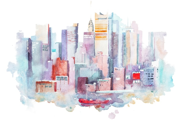 수채화 그리기 뉴욕 도시, 미국. 맨해튼 수채 화법 그림.