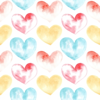 Watercolor drawing seamless pattern of shapes of heart
