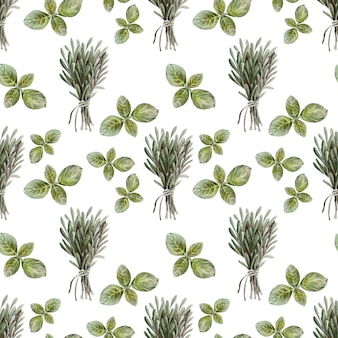 Watercolor drawing seamless pattern with leaves, fruits and olive oil. oil and aromatic herbs
