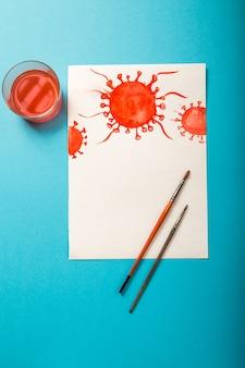 テキストコロナウイルス、ウイルスのモデルと水彩画。