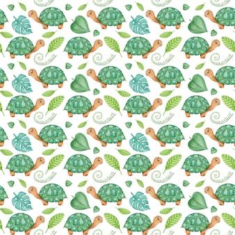 Акварельный рисунок с черепахами и листьями