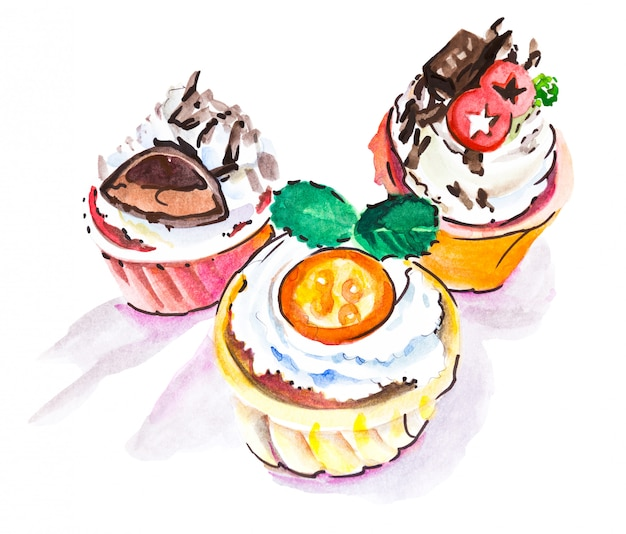 Watercolor drawintg of three different cupcakes
