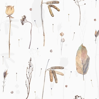 Акварель сухие листья. винтаж бесшовные модели.