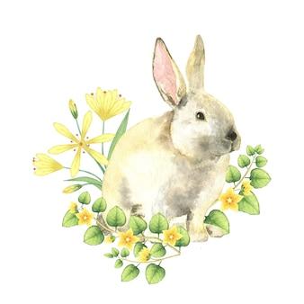 노란색 꽃에 수채화 부활절 토끼입니다.