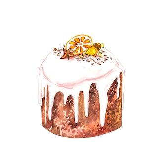 水彩のイースターケーキ。手描き水彩イラスト。