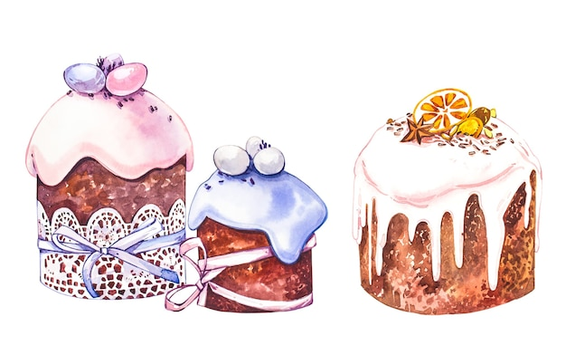 수채화 부활절 케이크