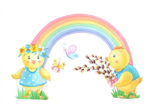 色とりどりの虹の背景に柳と水彩のイースターチキン