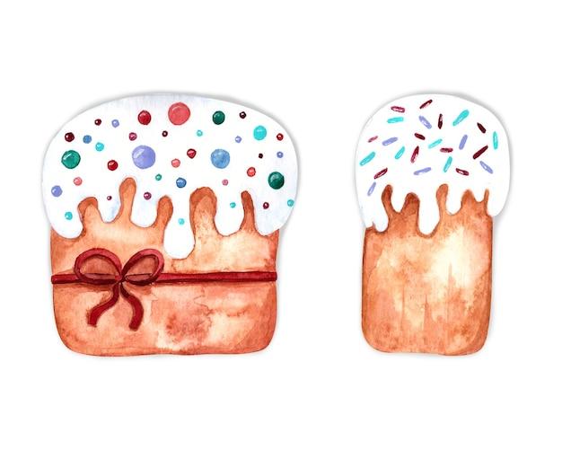 흰색 바탕에 케이크와 수채화 부활절 그림