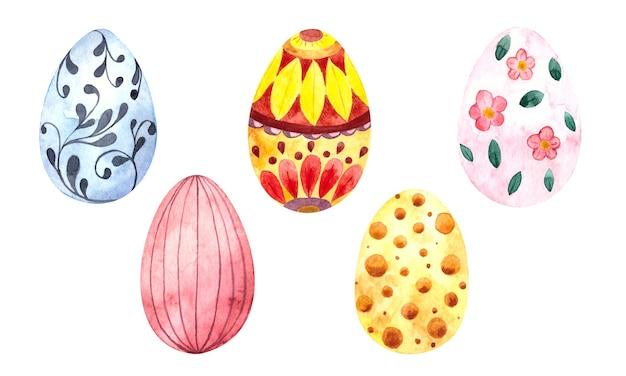白い背景の上のイースター色の装飾された卵と水彩イースターイラスト、